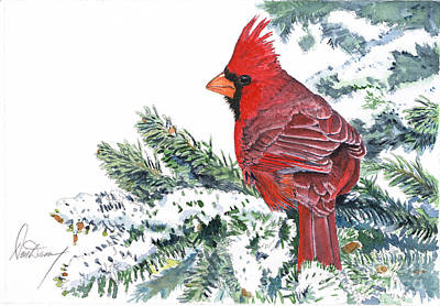Christmas Song Painting - Christmas Cardinal by Don Dane