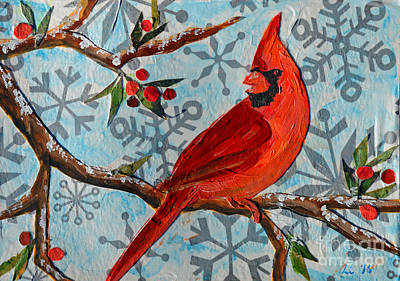 Mixed Media - Christmas Cardinal by Li Newton
