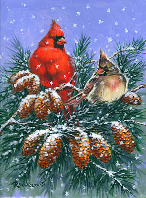 Painting - Christmas Cardinals #1 by Richard De Wolfe