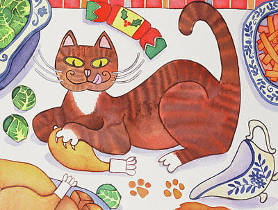 Paws Painting - Christmas Cat And The Turkey by Cathy Baxter