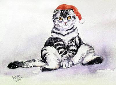 Painting - Christmas Cat by Asha Sudhaker Shenoy