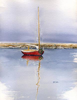 Winter Scene Painting - Christmas Cat Boat by Heidi Gallo