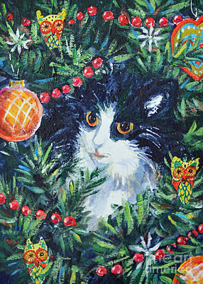 Painting - Christmas Catouflage by Li Newton