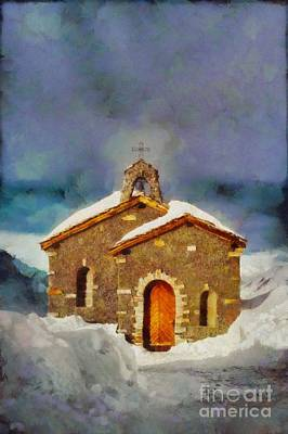 Painted Landscape Painting - Christmas Chapel By Sarah Kirk by Sarah Kirk