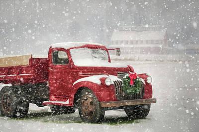 Antique Trucks Photograph - Christmas Chevy by Lori Deiter