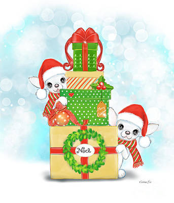 Painting - Christmas Chi Elves by Catia Lee