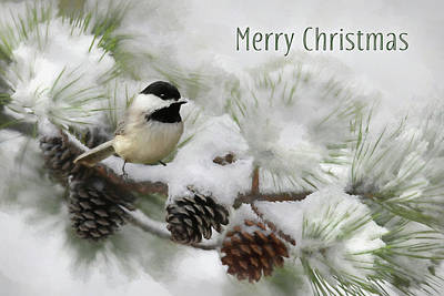 Art Print featuring the photograph Christmas Chickadee by Lori Deiter