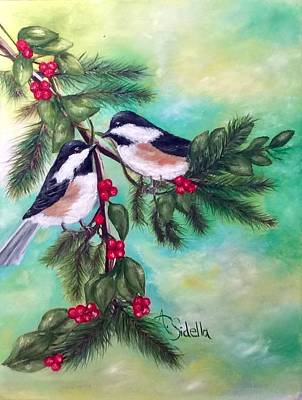 Painting - Christmas Chickadees by Annamarie Sidella-Felts