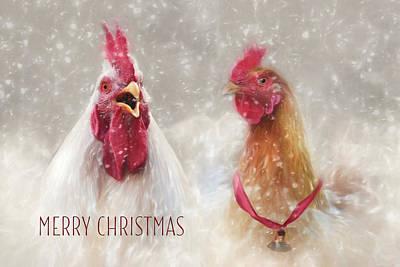 Chicken Digital Art - Christmas Chickens by Lori Deiter