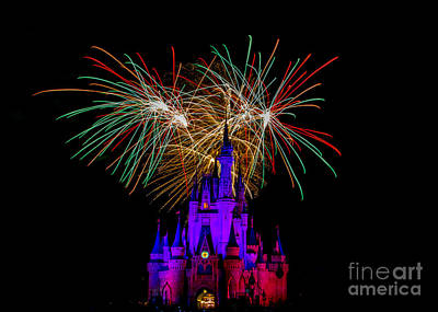 Prince Charming Photograph - Christmas Colored Disney Fireworks by Darcy Michaelchuk