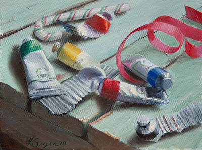 Candy Painting - Christmas Colors by Katherine Seger