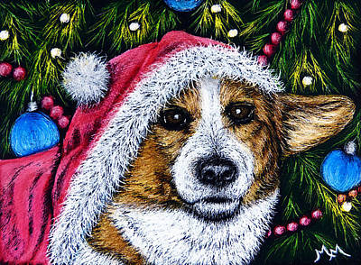 Painting - Christmas Corgi by Monique Morin Matson