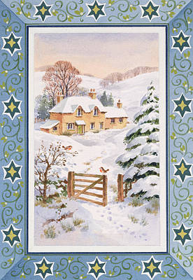 Farm Border Painting - Christmas Cottage by Stanley Cooke