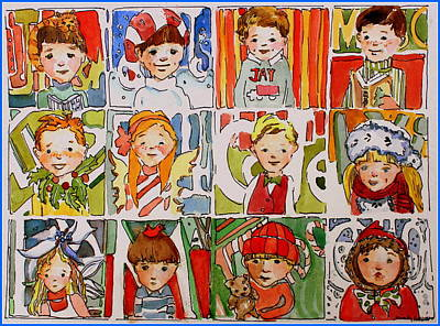 Cheerful Drawing - Christmas Cousins by Mindy Newman