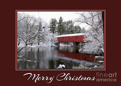 Digital Art - Christmas Covered Bridge by JH Designs