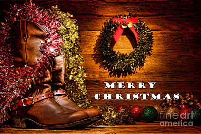 Photograph - Christmas Cowboy Boots - Merry Christmas  by Olivier Le Queinec