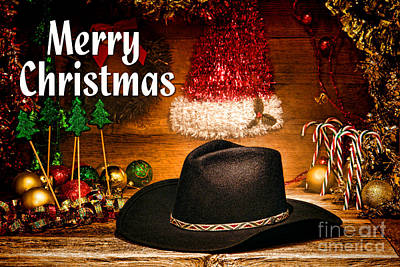Photograph - Christmas Cowboy Hat - Merry Christmas by Olivier Le Queinec