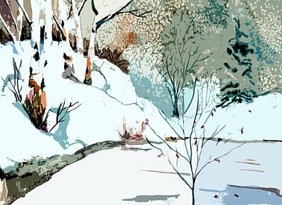 Snow Drifts Painting - Christmas Crisp by Mindy Newman