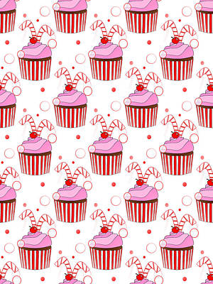 Cute Cupcakes Digital Art - Christmas Cupcakes by Kathleen Sartoris