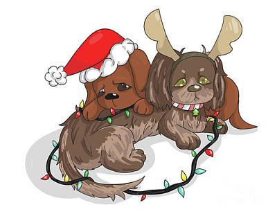 Dachshund Puppy Digital Art - Christmas Dachshund by Veronica Ely