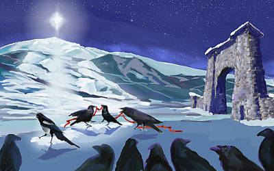 Magpies Digital Art - Christmas Dance by Les Herman