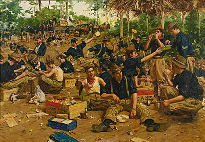 Christmas Day In Camp Art Print by Gilbert Gaul