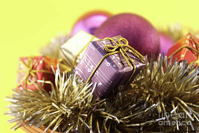 Nativity Photograph - Christmas Decoration With Gift And Baubles by Daniel Ghioldi