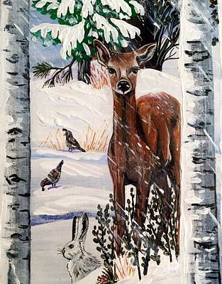 Painting - Christmas Deer Friends by Jennifer Lake