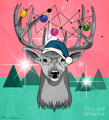 Christmas Deer Art Print by Mark Ashkenazi