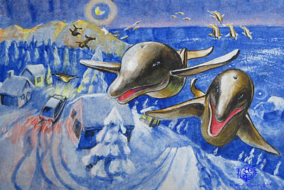 Arial Landscape Painting - Christmas Dolphins by Mark Plimsoll