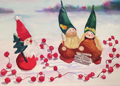 Woodsmen Painting - Christmas Elves by Katie Cornog