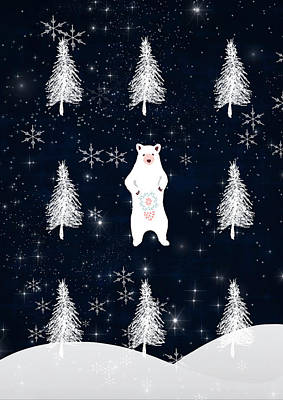 Christmas Eve Bear Art Print by Amanda Lakey