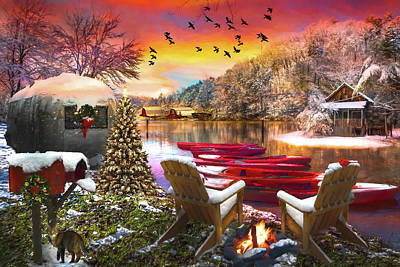 Photograph - Christmas Eve Camping Oil Painting by Debra and Dave Vanderlaan