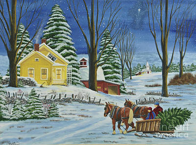 New England Snow Scene Painting - Christmas Eve In The Country by Charlotte Blanchard