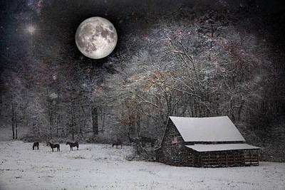 Photograph - Christmas Eve Moon by Debra and Dave Vanderlaan