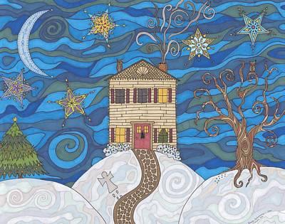 Moonlit Night Drawing - Christmas Eve by Pamela Schiermeyer