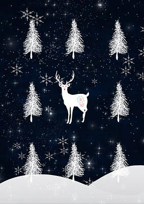 Christmas Eve - White Stag Art Print
