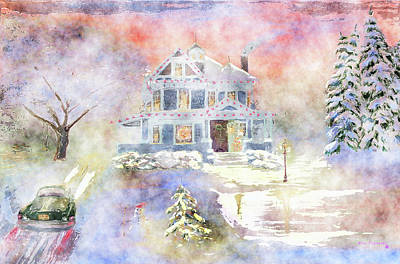 Log Cabin Painting - Christmas Eve Watercolor by Ken Figurski