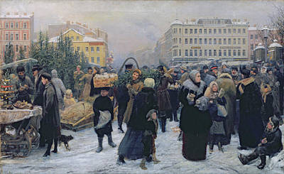 Christmas Fair  Art Print by Heinrich Matvejevich Maniser