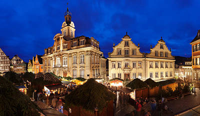 Christmas Fair In Front Of Town Hall Print by Panoramic Images