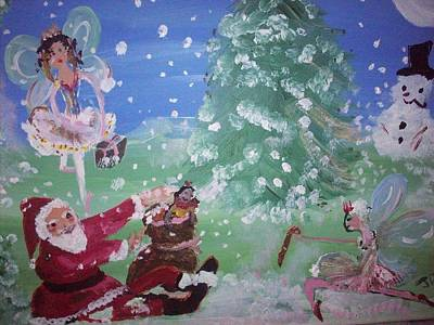 Art Print featuring the painting Christmas Fairies by Judith Desrosiers