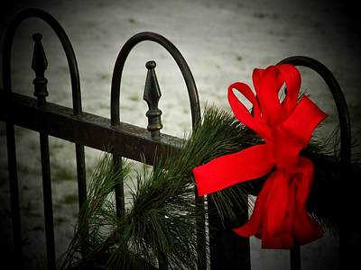 Christmas Fence Art Print