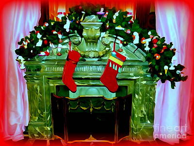 Digital Art - Christmas Fireplace by Ed Weidman