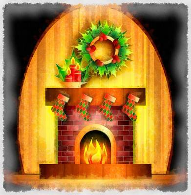 Wreath Painting - Christmas Fireplace by Esoterica Art Agency