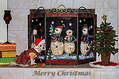 Photograph - Christmas Fireplace Puppy by Photography by Laura Lee