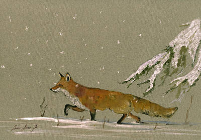 Christmas Fox Snow Art Print by Juan  Bosco