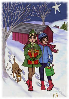 Dog Christmas Card Digital Art - Christmas Gift Delivery by Carol Apple