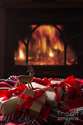 Christmas Gifts By The Fireplace Art Print