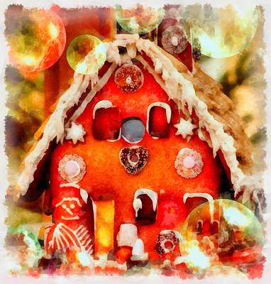 Gnomes Painting - Christmas Gingerbread House by Esoterica Art Agency