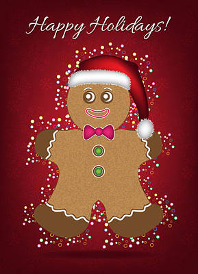 Digital Art - Christmas Gingerbread Man Card by Serena King